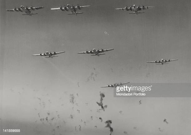 Flying Fortresses in flight under antiaircraft fire Budapest 27th July 1944