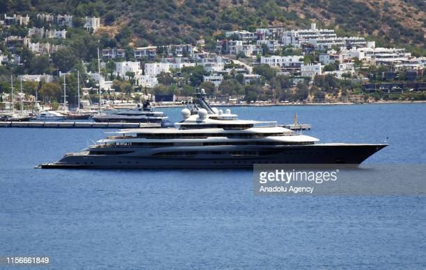 'Flying Fox' one of the top 20 largest superyachts in the world with a length of 136 meter and 21 meters wide anchors in Bodrum district of Mugla...