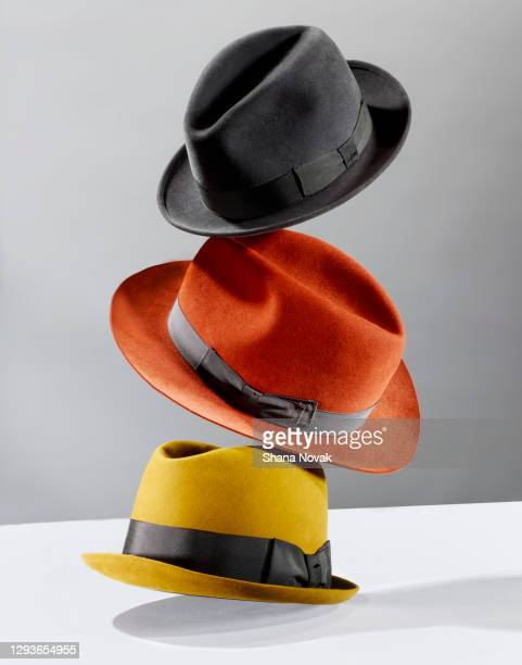 flying hats - hat stock pictures, royalty-free photos & images