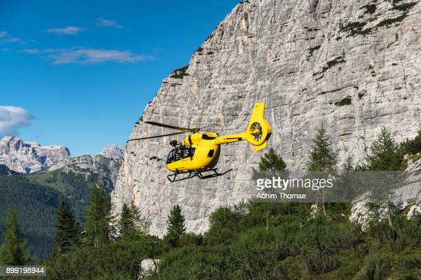 Flying Helicopter, Dolomite Alps, Italy, Europe