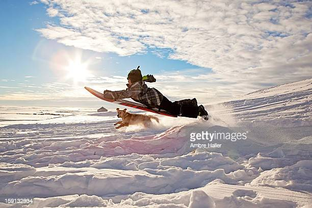 Flying high on a sled