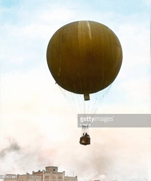 Flying hotairballoon Austria Handcolored lantern slide Around 1910