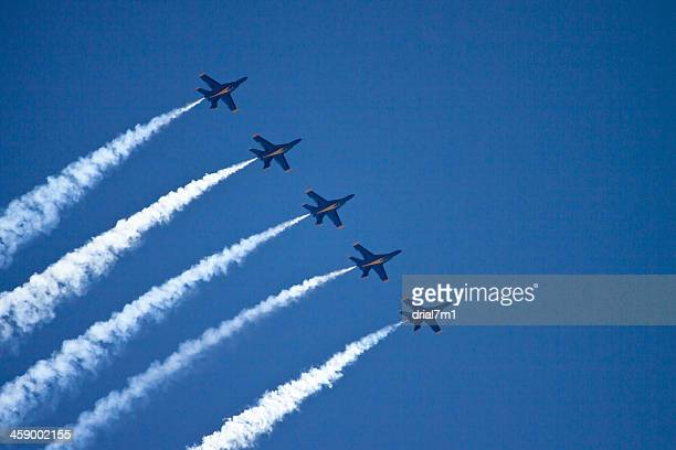 flying in formation - blue angels stock pictures, royalty-free photos & images