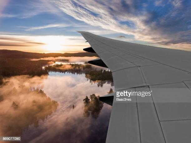 Flying in sunrise