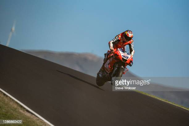 Flying Jack Miller of Australia and Pramac Racing in the end of third free practice during the qualifying for the MotoGP of Portugal at Algarve Motor...