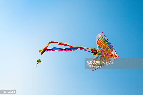 Flying kite in the blue sky - Vietnam, Asia