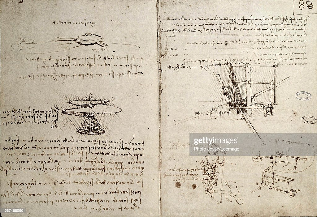 Drawing of flying machines by Leonardo da Vinci : News Photo