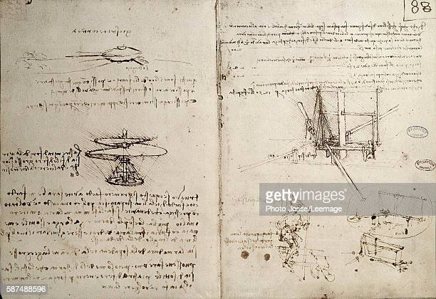 Flying machines one of first drawings of a helicopter like flying machine Manuscript by Leonardo da Vinci pen and ink on paper c 1487 Bibliotheque de...