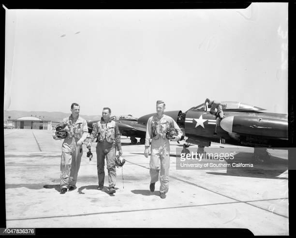 Flying marine master sergeants , 4 May 1954. Master Sergeant Frank M Baker -- 33 years ;Master Sergeant Henry Michalski -- 33 years ;Master Sergeant...