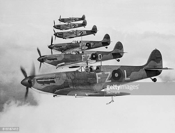 Flying Officer Robert Stanford Tuck flying aircraft registration FZL number K9906 leads two flights of No65 'East India 'Squadron Royal Air Force...