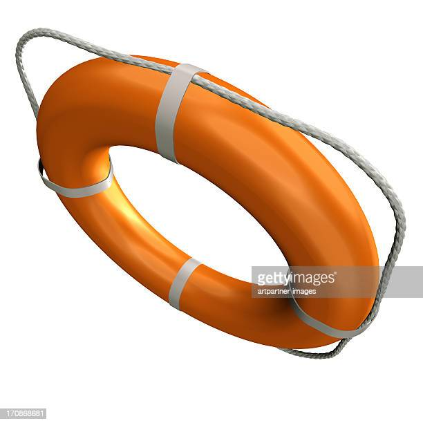 Flying Orange Lifebuoy on white