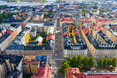 flying over central stockholm apartment buildings
