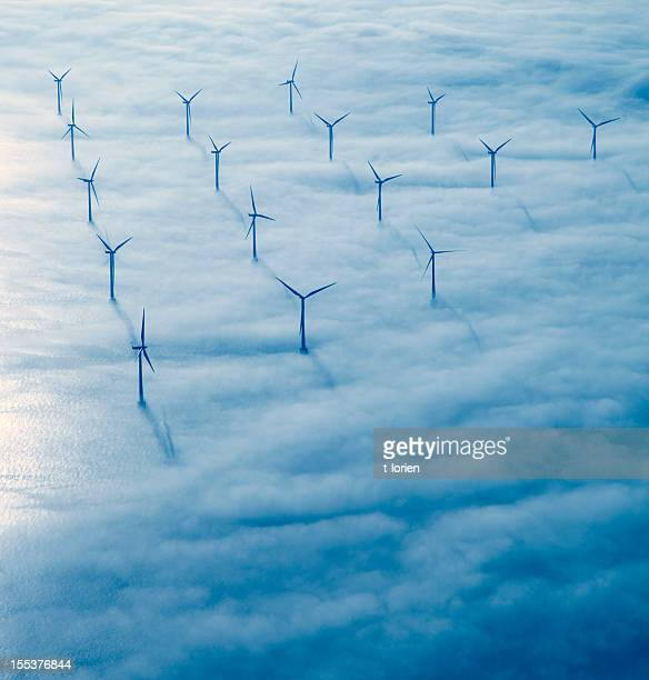 flying over copenhagen. - windenergie stockfoto's en -beelden