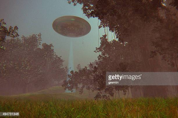 UFO flying over forest at night