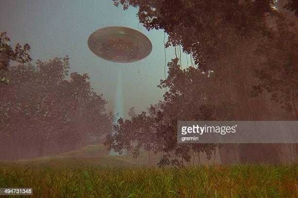 ovni voando acima da floresta à noite - disco voador - fotografias e filmes do acervo