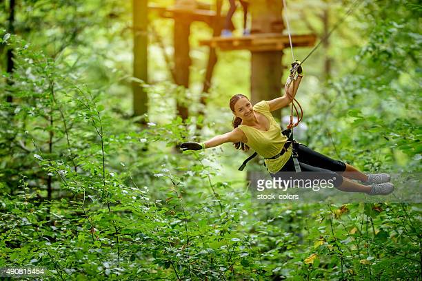 flying over forest with zip line