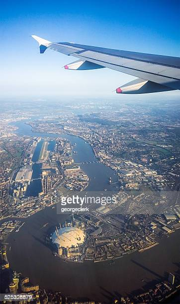 flying over london - greenwich london stock pictures, royalty-free photos & images