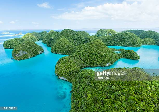 Flying over lush tropical rock islands, Palau