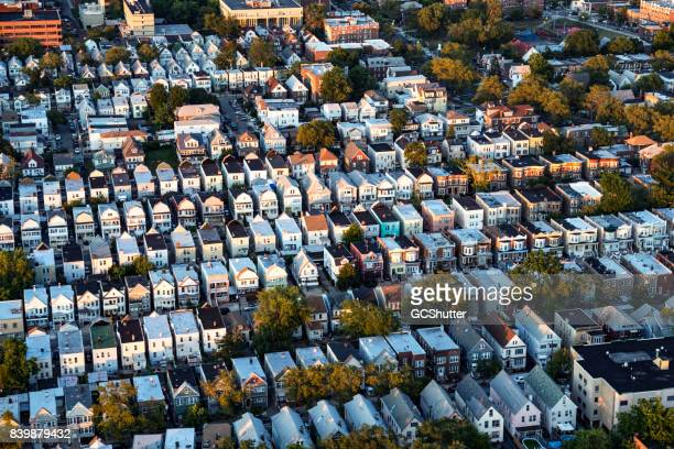 flying over residential district of new jersey - new jersey stock pictures, royalty-free photos & images