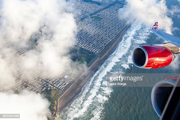Flying over San Francisco coastline on Virgin Airways flight
