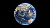 Flying over the earth's surface, Eurasia and Australia. 3D rendering.