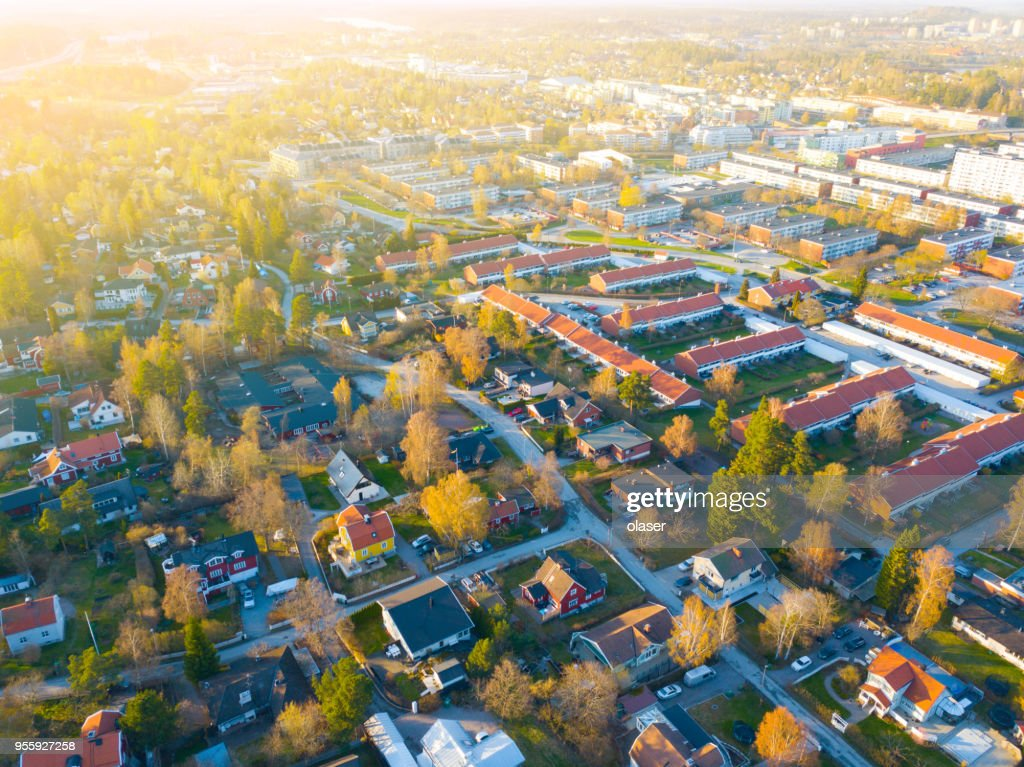 Flying over villa area : Stock Photo