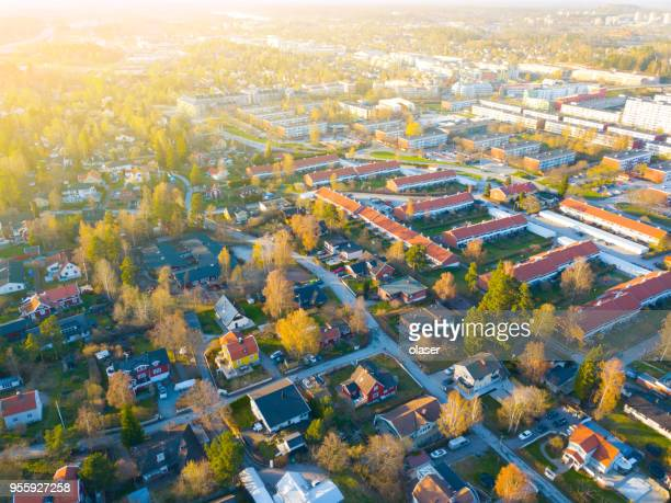flying over villa area - sweden stock pictures, royalty-free photos & images