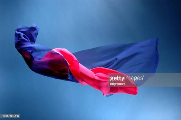 volant en soie rose et bleu - deux objets photos et images de collection