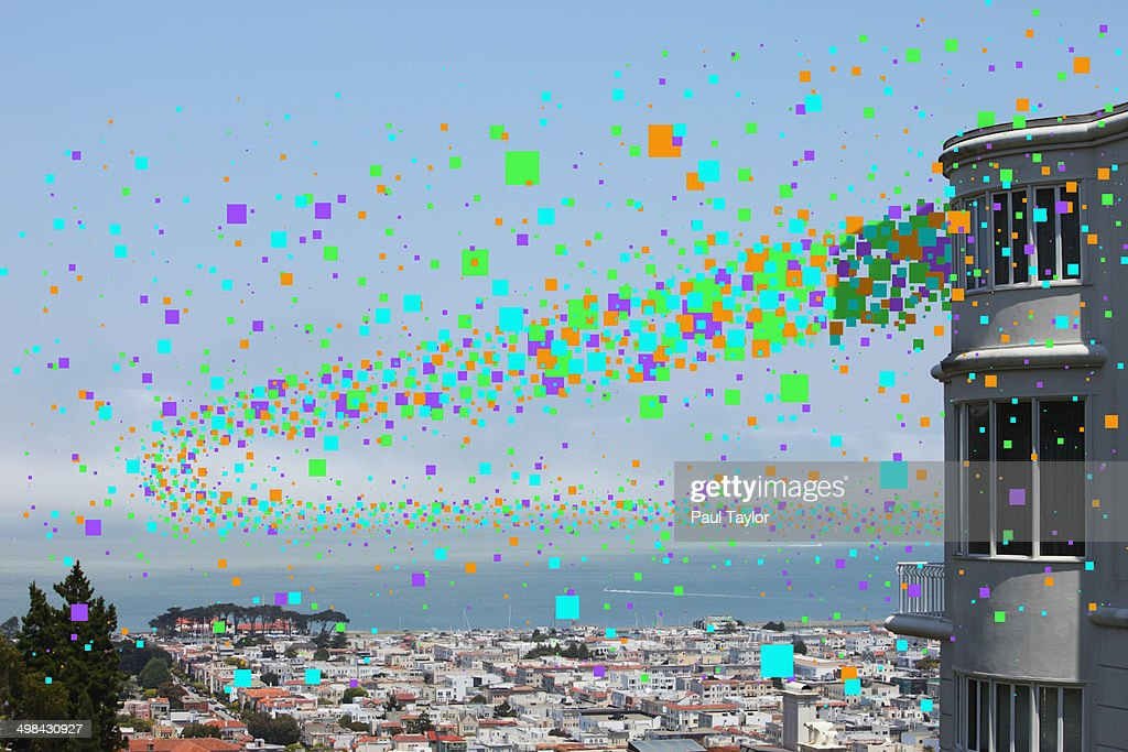 Flying Pixels Over City : Stock Photo
