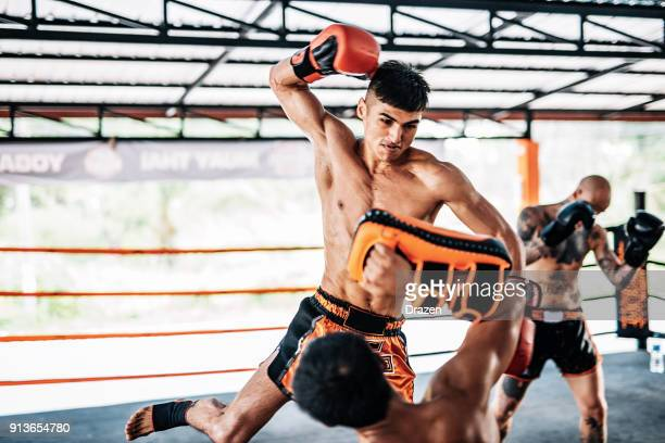 flying punch in muay thai fighting - muay thai stock photos and pictures