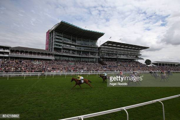 Flying Pursuit ridden by Rachel Richardson wins The Sky Bet Dash at York Races on July 29 2017 in York England