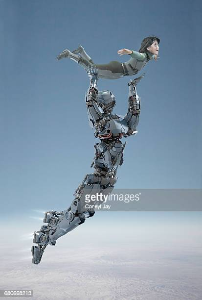 Flying robot lifting young girl