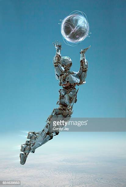 flying robot with ball of energy