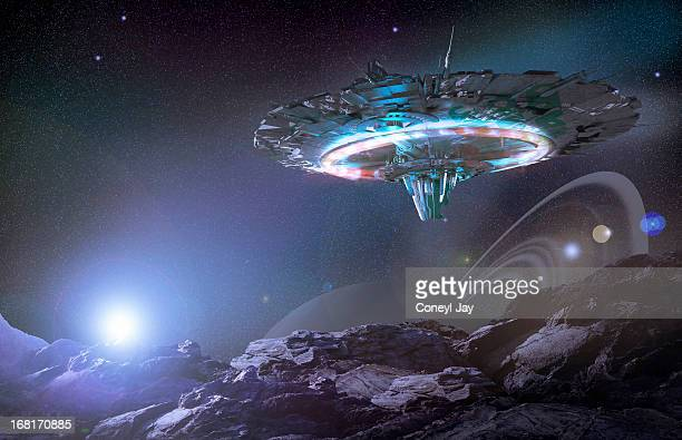 ufo / flying saucer / alien spaceship - spaceship stock photos and pictures