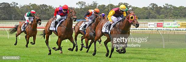 Flying Spark ridden by Luke Nolen wins My Punter FM BM64 Handicap at Bendigo Racecourse on November 30 2016 in Bendigo Australia