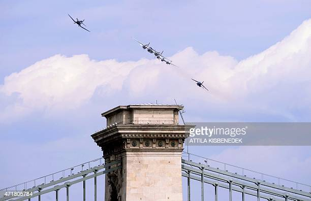 A flying squadron consisting of a B25 plane an F4U Corsair a P38 Lightning and an Alpha Jet flown by pilots Frederic Handelmann Hans Pallaske Eric...