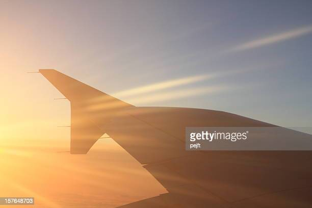 flying - sunbeam and an aircraft wing - pejft stock pictures, royalty-free photos & images
