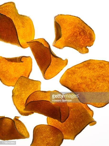 Flying sweet potato chips