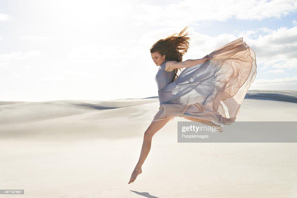 Flying through the desert : Stock Photo