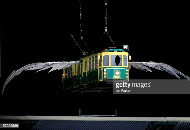 A 'flying tram' enters the arena during the Opening Ceremony for the Melbourne 2006 Commonwealth Games at the Melbourne Cricket Ground March 15 2006...