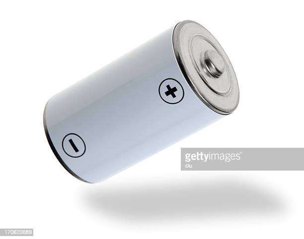 flying white battery - battery stock photos and pictures
