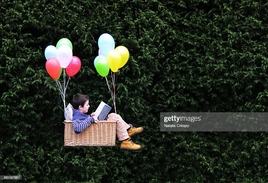 Flying with a good book : Stock Photo