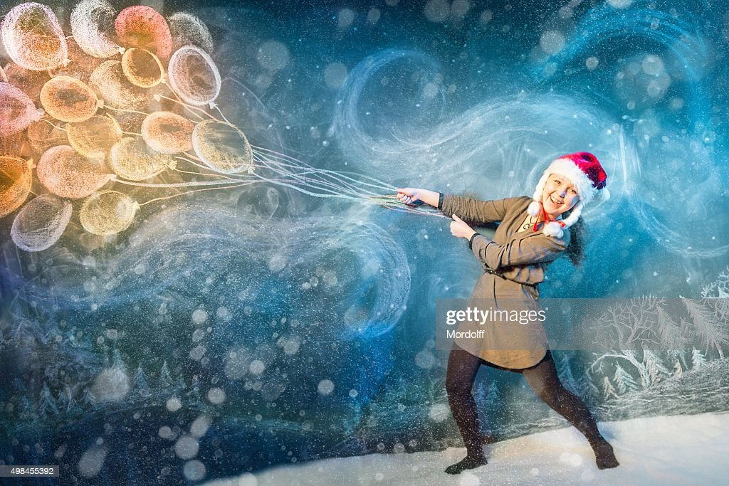 Flying With Winter Blizzard : Stock Photo