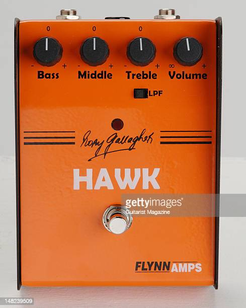 A Flynn Amps Rory Gallagher Hawk Booster electric guitar boost and overdrive effects pedal during a studio shoot for Guitarist Magazine/Future via...