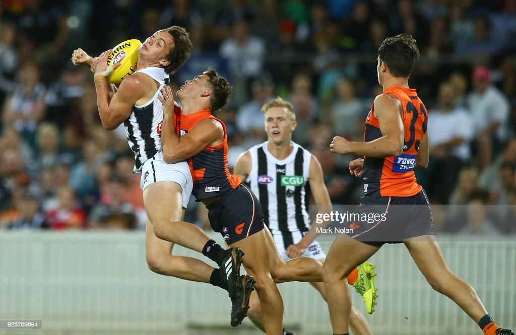 Flynn Appleby of the Magpies takes a mark during the JLT Community Series AFL match between the Greater Western Sydney Giants and the Collingwood Magpies at UNSW Canberra Oval on March 1, 2018 in Canberra, Australia.