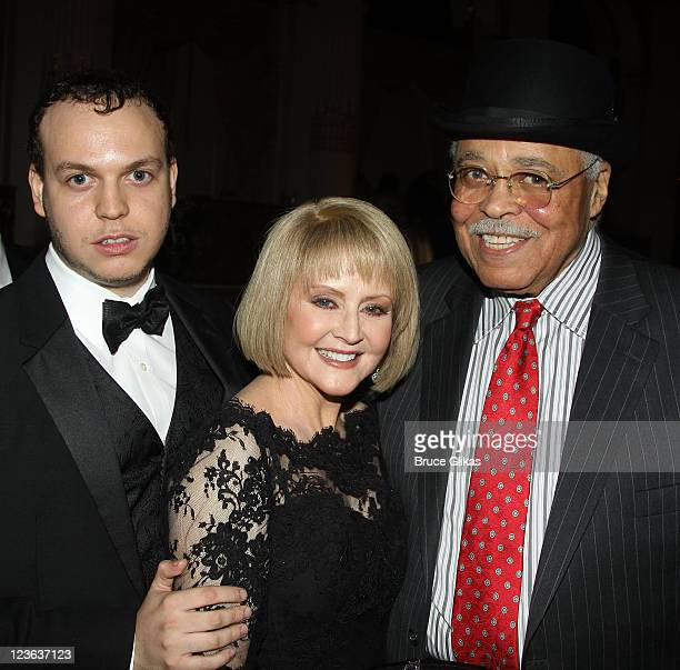 """Flynn Jones, mother Cecilia Hart and husband James Earl Jones pose at the Opening Night After Party for """"Driving Miss Daisy"""" on Broadway at The Plaza..."""