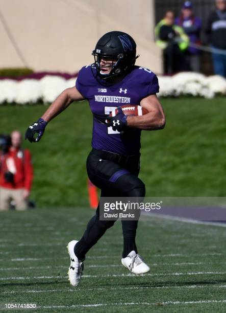 Flynn Nagel of the Northwestern Wildcats catches a pass against the Nebraska Cornhuskers during the second half on October 13 2018 at Ryan Field in...