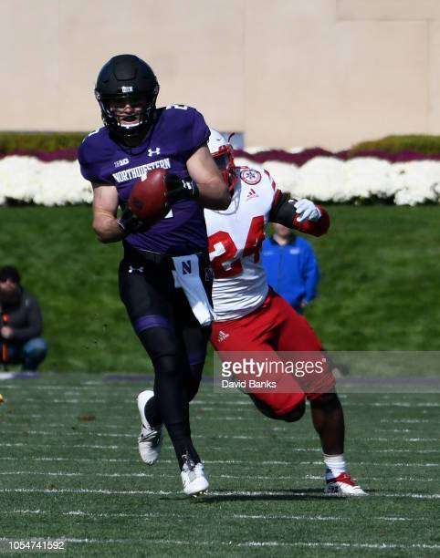 Flynn Nagel of the Northwestern Wildcats catches a touchdown pass against the Nebraska Cornhuskers during the second half on October 13 2018 at Ryan...