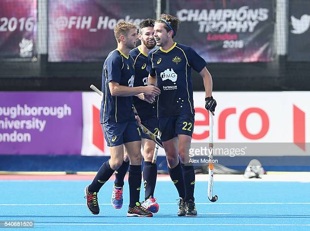 Flynn Ogilvie of Australia celebrates after scoring their third goal during the FIH Mens Hero Hockey Champions Trophy match between Australia and...
