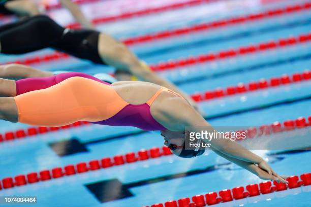 Flynn Paige of New Zealand competes in the Women's 4x50m Freestyle Heats during 14th FINA World Swimming Championships Day 6 on December 16 2018 in...